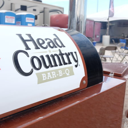 Grill with Head Country sign