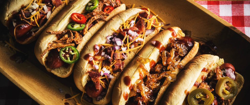 Cowboy BBQ Hot Dogs Complete With Spicy and Savory Toppings Head Country | Cheese Onion And Peppers