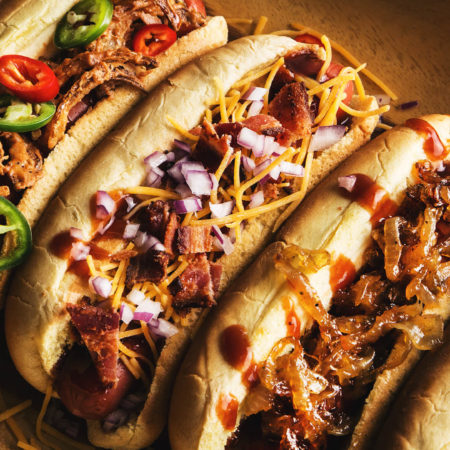 bbq hot dogs with cheese onion and peppers