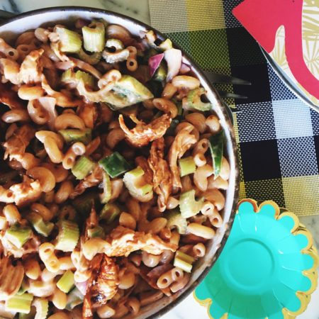 Baked BBQ Chicken And Macaroni Salad With Celery, Red Onions, Bell Peppers | Best Homemade Macaroni Chicken Salad