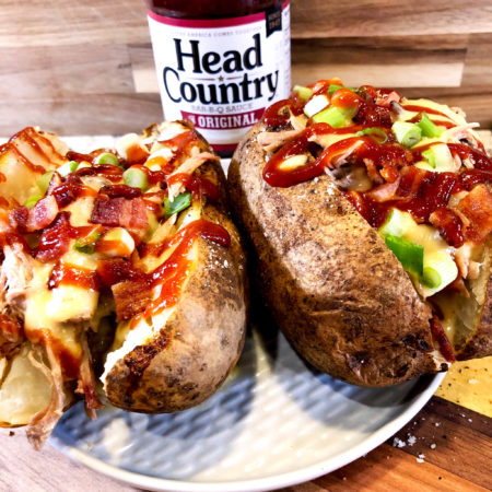 BBQ Pulled Pork Baked Potato | Best BBQ Sauce Recipe With Bacon and Pork, Cheese, Onion, Butter | Best Baked Potato Recipe