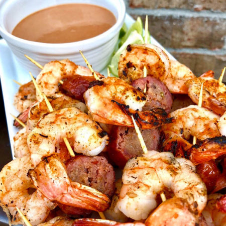 Seared Shrimp And Sausage Skewers With Homemade BBQ Seafood Sauce | Best BBQ Surf And Turf Recipes